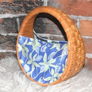 Lilly Pulitzer Blue Lady Bug Floral Wicker BAG